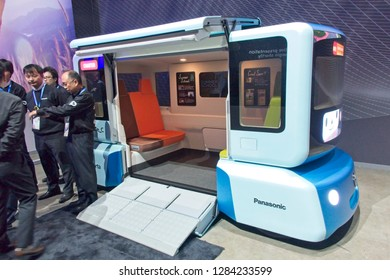 Las Vegas, NV, USA, Jan. 8, 2019: The annual CES show highlights the latest technology advances, like this self-driving shuttle bus concept developed by Panasonic.
