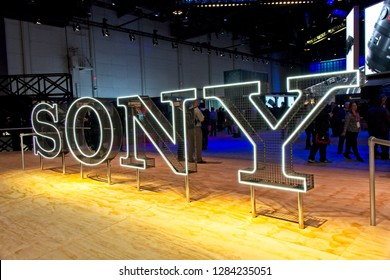 Las Vegas, NV, USA, Jan. 8. 2019: The Sony Corp. exhibit at 2019 CES features innovations from Play-Stations, to cameras and camcorders to acoustic headphones and ultra high definition TV