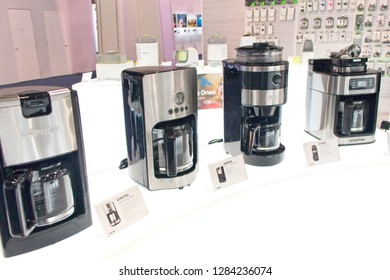 Las Vegas, NV, USA, Jan. 8, 2019: The annual CES show highlights the lates in coffee culture from Gourmia's stylish line of kitchen appliances.