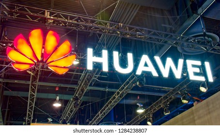 Las Vegas, NV, USA, Jan. 8, 2019: Amid  political controversy, Huawei attends the 2019 CES exhibition, promoting its leadership role in advancing worldwide 5G  cellular technology.