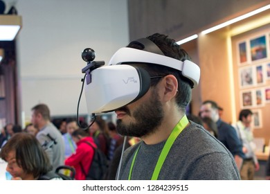 Las Vegas, NV, USA, Jan. 8, 2019: Virtual relaity (VR) goggles amaze visitors at the annual 2019 CES show in Las Vegas, like these from Huawei.