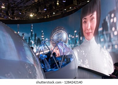 Las Vegas, NV, USA, Jan. 8, 2019:  Enter the future at the 2019 CES show exhibit from Hyundai, promoting advances in automated vehicle technology.