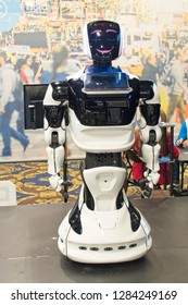 Las vegas, NV, USA, Jan. 8, 2019: A state-of-the-art robot stands ready to serve customers at the 2019 CES show.