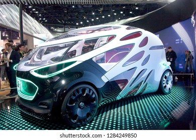 Las Vegas, NV, USA, Jan. 8, 2019: Peek into the future of a Mercedes self-driving concept acr displayed at the 2019 CES show in Las Vegas.