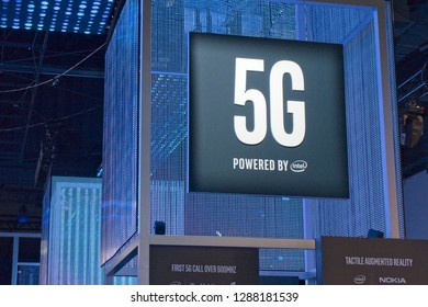 Las Vegas, NV, USA, Jan. 8, 2019: The Intel exhibit at the 2019 CES show foretells the future of cellular phones with the push into 5G technology.
