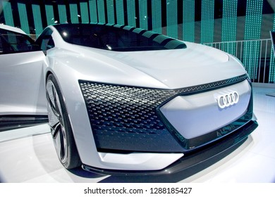 Las Vegas, NV, USA, Jan. 8, 2019: Audi exhibits advanced concept self-driving car of the future at the 2019 CES Show in Las Vegas.