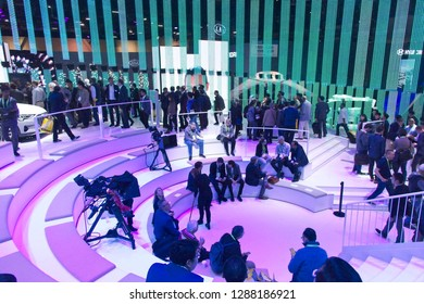 Las Vegas, NV, USA, Jan. 8, 2019:  CES visitors congregate at the Audi exhibit of advanced technology automobiles at the 2019 CES show.
