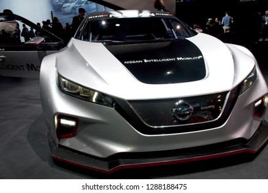 Las Vegas, NV, USA, Jan. 8, 2019: Nissan displays future automobile with advanced intelligent mobility and sensors for enhanced driving experience and safety.