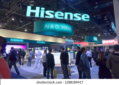 Las Vegas, NV, USA, Jan. 8, 2019: Visitors flock to the Hisense exhibit at the 2019 CES  show in Las vegas to see the latest innovations.