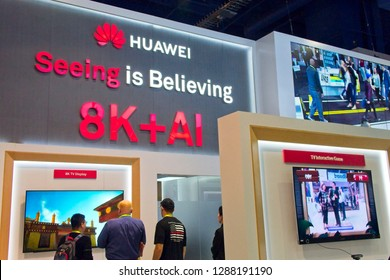 Las Vegas, NV, USA, Jan. 8, 2019: Despite political controversy, Huawei attends the 2019 CES exhibition, promoting its leadership role in advancing 5G  cellular technology.