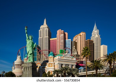 Las Vegas, NV, USA - Jan 6, 2017: Famous New York New York casino-hotel on Jan 6, 2017 in Las Vegas . The hotel recreates the famous New York skyline.