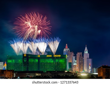 LAS VEGAS, NV, USA - JANUARY 1, 2019: A burst of fireworks above the MGM Grand Hotel and Casino celebrate the New Year's Eve Party on the Strip.