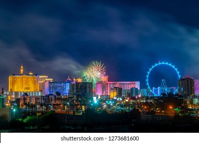 LAS VEGAS, NV, USA - JANUARY 1, 2019: A burst of fireworks above the Las Vegas Strip celebrate the New Year's Eve Party on the Strip.