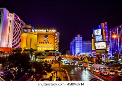 Las Vegas, NV, USA . January 21, 2016: View of the strip. The Las Vegas Strip is an approximately 4.2-mile (6.8 km) stretch of Las Vegas Boulevard in Clark County, Nevada.