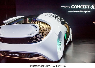 Las Vegas, NV, USA - January. 7, 2017: Toyota displayed its futuristic concept car at CES 2017. The vehicle features a friendly co-pilot designed to assist the driver and improve safety.