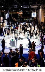 Las Vegas, NV. USA - January 7, 2017: Visitors inspect displays of vehicle technology at the VW exhibit at CES 2017.