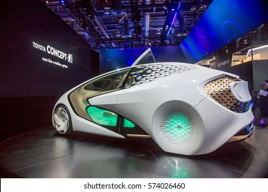 Las Vegas, NV, USA - January 7, 2017: Toyota displayed its futuristic concept car at CES 2017. The vehicle features a friendly co-pilot designed to assist the driver and improve safety.