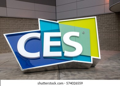 Las Vegas, NV, USA - January 7, 2017:The large CES sign welcomes visitors to the Las Vegas Convention Center for the 2017 trade shiw.