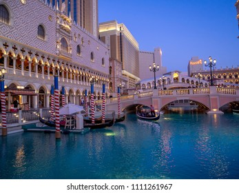 Las Vegas, NV / USA - June 7, 2018: Details of the grounds and architecture of the beautiful Venetian Hotel and Casino in Las Vegas. The Venetian is famed for its gondolier rides.