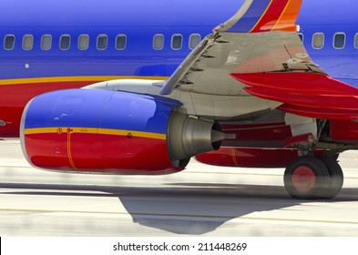LAS VEGAS, NV, USA  - JUNE 24, 2014: A Southwest Airline Passenger Jet On Final Approach To Las Vegas International Airport on June 24, 2014. Southwest is the world's largest low cost carrier