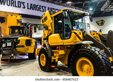 Las Vegas, NV USA - Mar.9, 2017: Con Expo presents a stunning array of highly engineered, heavy duty construction equipment.