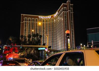 Las Vegas, NV / USA - May 19 2011: Treasure Island hotel in Las Vegas at night