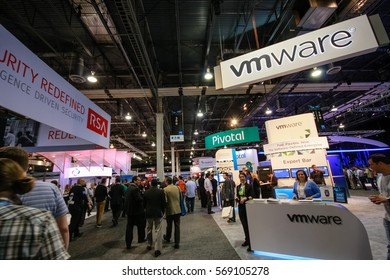 LAS VEGAS, NV, USA – MAY 5, 2014: Booths of RSA, Pivotal and VMware companies at EMC World 2014 conference on May 5, 2014 in Las Vegas, NV, USA.