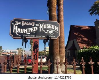Las Vegas, NV/ USA - Nov 11 2017: Zak Bagan's The Haunted Museum Entrance Sign