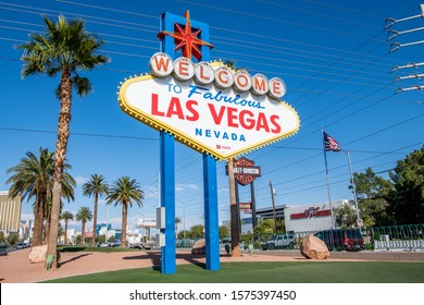 Las Vegas, NV / USA - November 25, 2019: The famous Welcome To Las Vegas sign at the entrance to Las Vegas, Nevada.