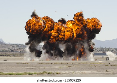 Las Vegas, NV, USA -November 09, 2014: Explosions as part of a demonstration at Nellis Air Force Base, Aviation Nation 2014 airshow