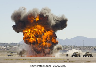 Las Vegas, NV, USA - November 9, 2014: Explosions as part of a demonstration at Nellis Air Force Base, Aviation Nation 2014 airshow