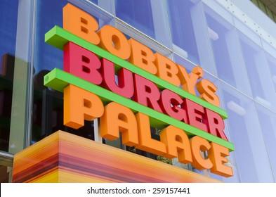 Las Vegas, NV, USA - November 12, 2014: Bobby's Burger Palace presents signature burgers inspired by Chef Bobby Flay on the Las Vegas Strip