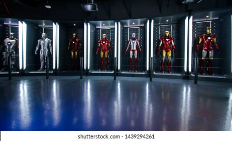 LAS VEGAS, NV, USA - Oct 09, 2017: Iron Man costumes at the Tony Stark base at the Avengers experience in Las Vegas.