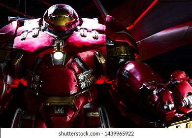 LAS VEGAS, NV, USA - Oct 09, 2017: Hulk Buster Iron Man costume at the Tony Stark base at the Avengers experience in Treasure Island Hotel and Casino on Las Vegas Strip.