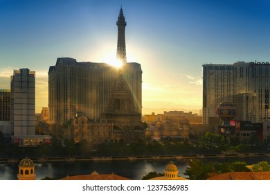 Las Vegas, NV, USA - October 16, 2018: Famous  Las Vegas Strip boulevard with luxury resorts and casino in the morning