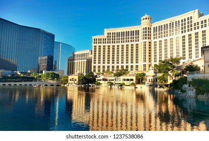 Las Vegas, NV, USA - October 19, 2018: Famous  Bellagio resort and casino on sunny day