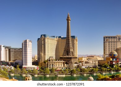 Las Vegas, NV, USA - October 18, 2018: Famous  Las Vegas Strip boulevard with luxury resorts and casino on sunny day