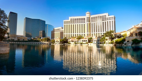 Las Vegas, NV, USA - October 19, 2018: Famous  Bellagio resort and casino in the morning