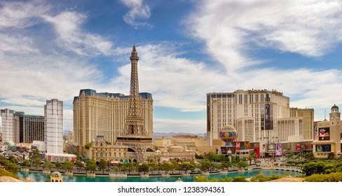 Las Vegas, NV, USA - October 16, 2018: Famous  Las Vegas Strip boulevard with luxury resorts and casino at daytime