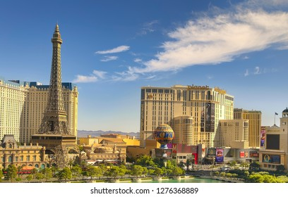 Las Vegas, NV, USA - October 17, 2018: Famous  Las Vegas Strip boulevard with luxury resorts and casino on sunny day