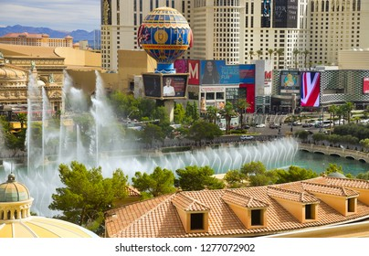 Las Vegas, NV, USA - October 16, 2018: Famous  Las Vegas Strip boulevard with luxury resorts and casino on sunny day