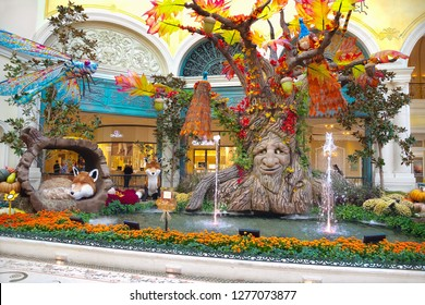 Las Vegas, NV, USA - October 19, 2018: Conservatory & Botanical Gardens in Bellagio Casino Resort on the Las Vegas Strip