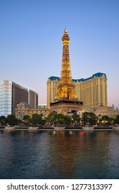 Las Vegas, NV, USA - October 18, 2018: Famous Las Vegas Strip boulevard with luxury resorts and casino in the evening