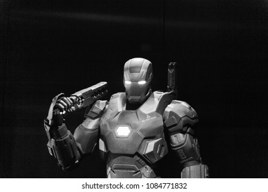 LAS VEGAS, NV, USA - SEP 20, 2017: War Machine (colonel James Rhodes) at Tony Stark base at the Avengers experience in Las Vegas.