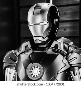LAS VEGAS, NV, USA - SEP 20, 2017: Iron Man costume (from 2008 movie) at the Tony Stark base at the Avengers experience in Las Vegas.