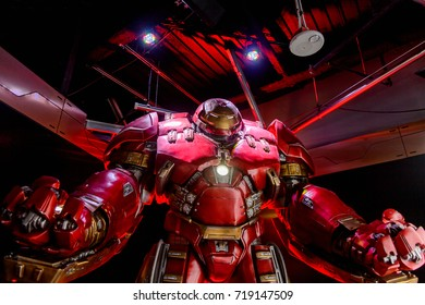 LAS VEGAS, NV, USA - SEP 20, 2017: Hulk Buster Iron Man costume at the Tony Stark base at the Avengers experience in Las Vegas.