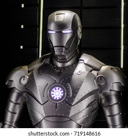 LAS VEGAS, NV, USA - SEP 20, 2017: Prototype for the War Machine at the  Tony Stark base at the Avengers experience in Las Vegas.