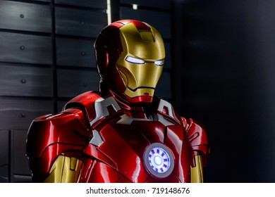 LAS VEGAS, NV, USA - SEP 20, 2017: Iron Man costume (from 2010 movie) at the Tony Stark base at the Avengers experience in Las Vegas.