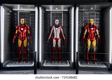 LAS VEGAS, NV, USA - SEP 20, 2017: Iron Man costumes at the Tony Stark base at the Avengers experience in Las Vegas.