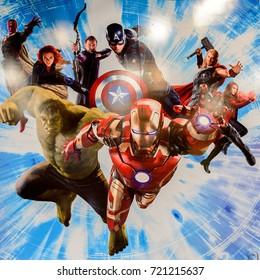 LAS VEGAS, NV, USA - SEP 20, 2017: Marvel superheroes Iron Man, Thor, Hulk, Black Widow, Hawkeye, Vision, Vanda Scarlet Witch at the  Avengers Station complex in Las Vegas.